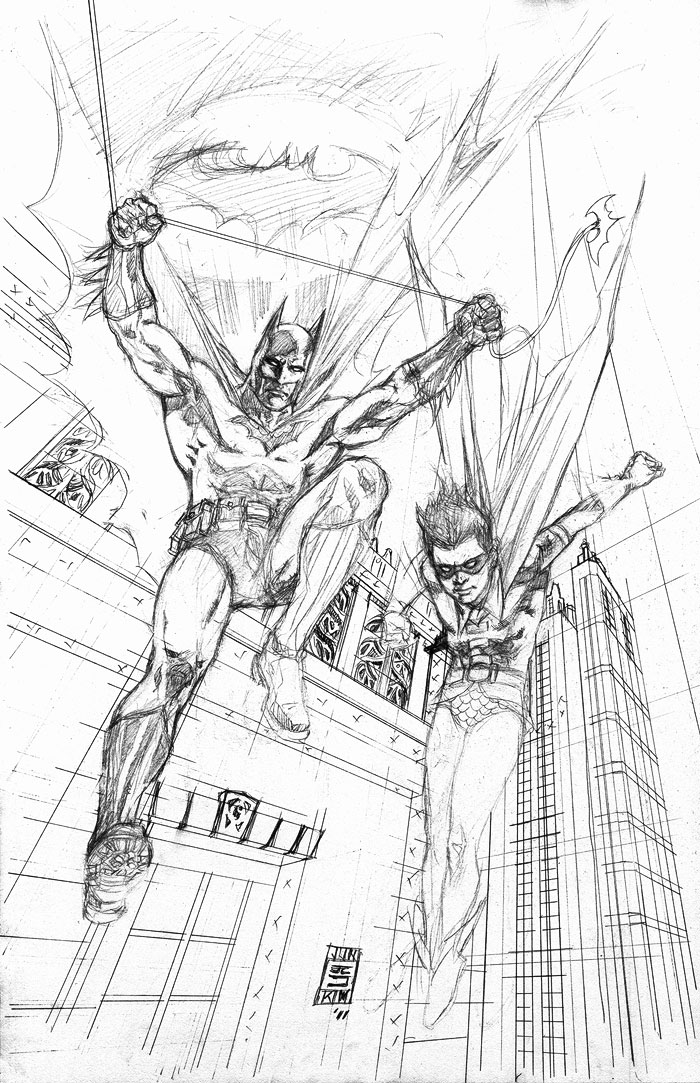 """Batman and Robin Jump Into the Fray"" Penciled Art by Jun Bob Kim"