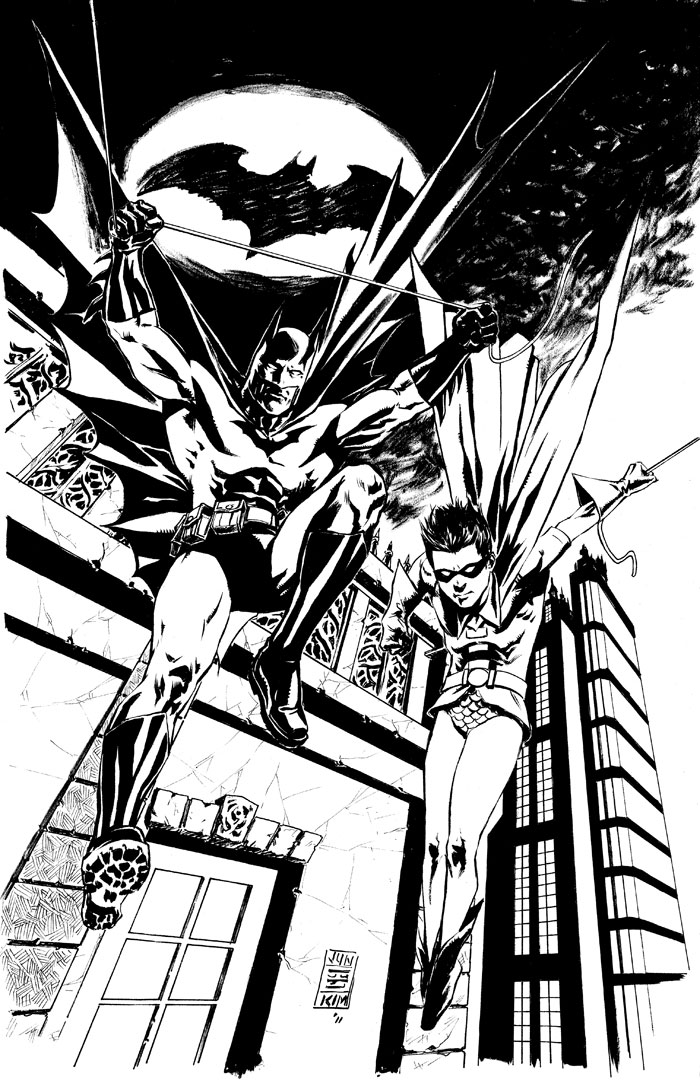 """Batman and Robin Jump Into the Fray"" Inked Art by Jun Bob Kim"