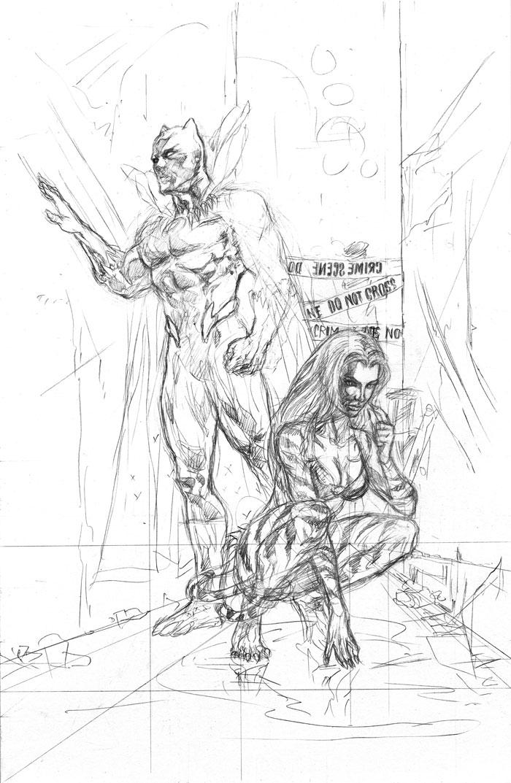 """Tigra and Black Panther Investigate a Crime Scene"" Penciled Art by Jun Bob Kim"
