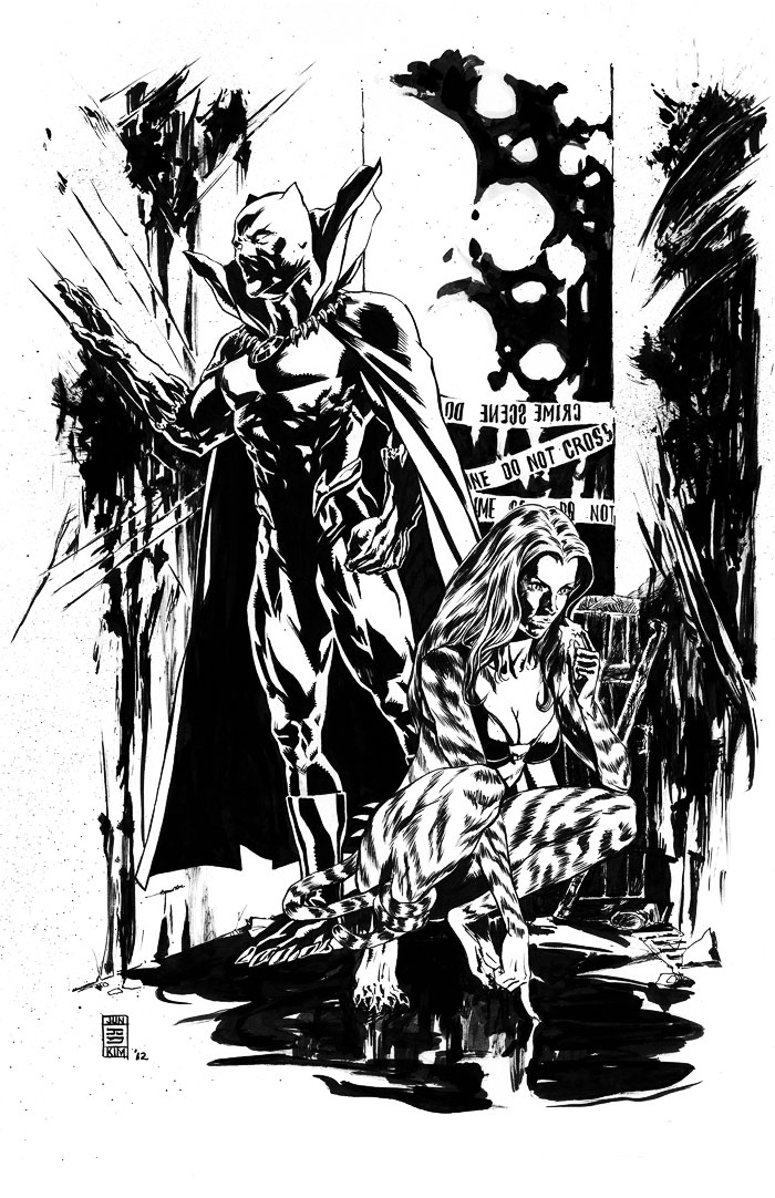 """Tigra and Black Panther Investigate a Crime Scene"" Inked Art by Jun Bob Kim"