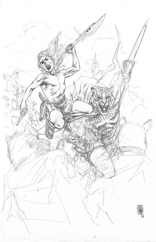 Kamandi & Prince Tufta Battling the Rats Penciled Art by Jun Bob Kim