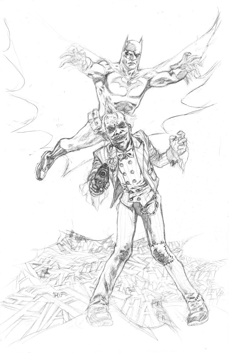 """""""HAHAHAHAHAHA!"""" - Batman About to Pounce on Joker - Pencils by Jun Bob Kim"""
