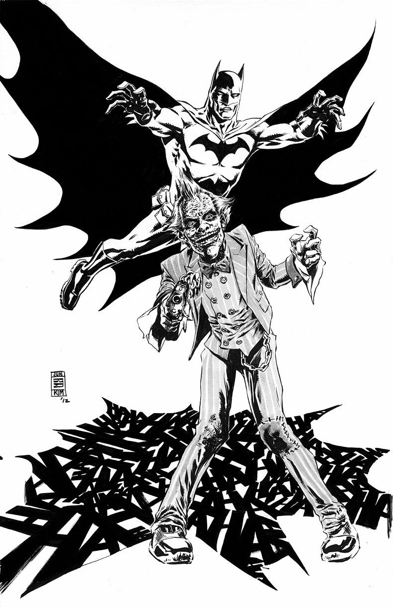 """""""HAHAHAHAHAHA!"""" - Batman About to Pounce on Joker - Inked Art by Jun Bob Kim"""