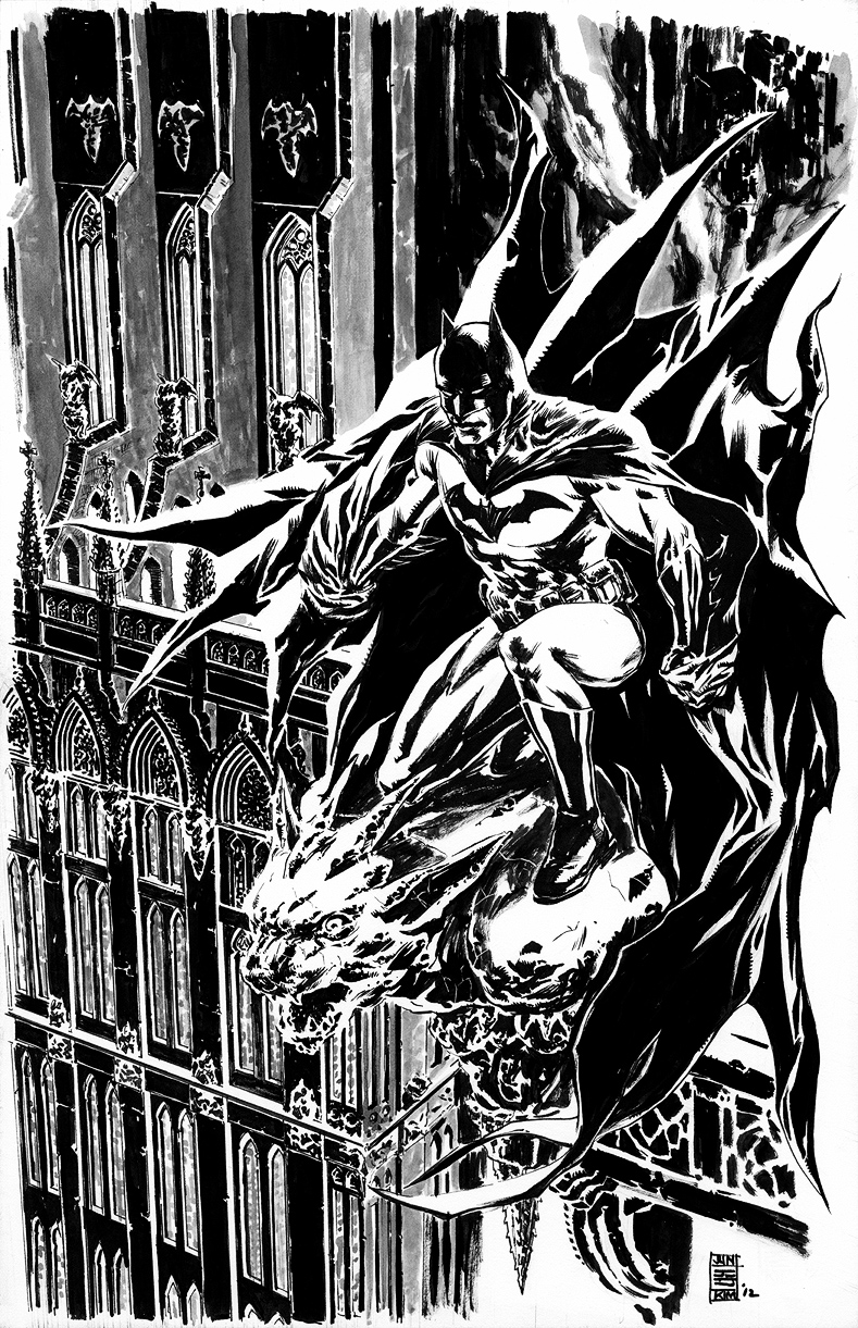 Batman Stands Guard Over Gotham on a Gargoyle Painting by Jun Bob Kim