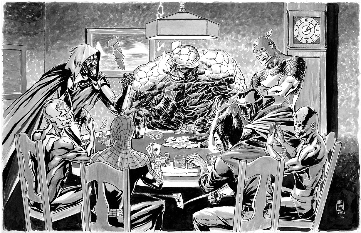 Ben Grimm's Poker Game - 'A Spidey in Need' Ink Painting by Jun Bob Kim