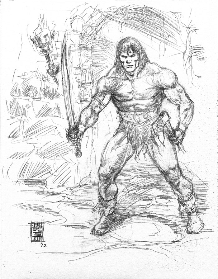 Conan in the Dungeon - a Sketch by Jun Bob Kim