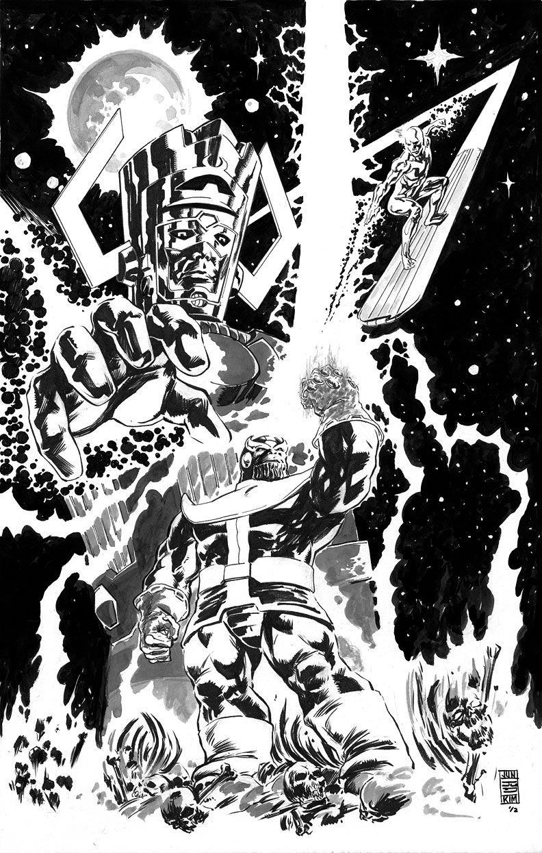 Galactus, Silver Surfer Battle Thanos for the Infinity Gauntlet - a Painting by Jun Bob Kim