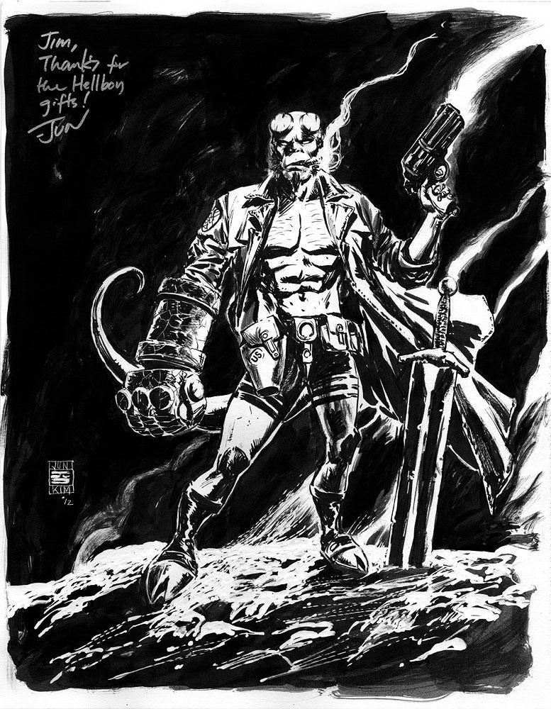 Hellboy Ink Painting by Jun Bob Kim