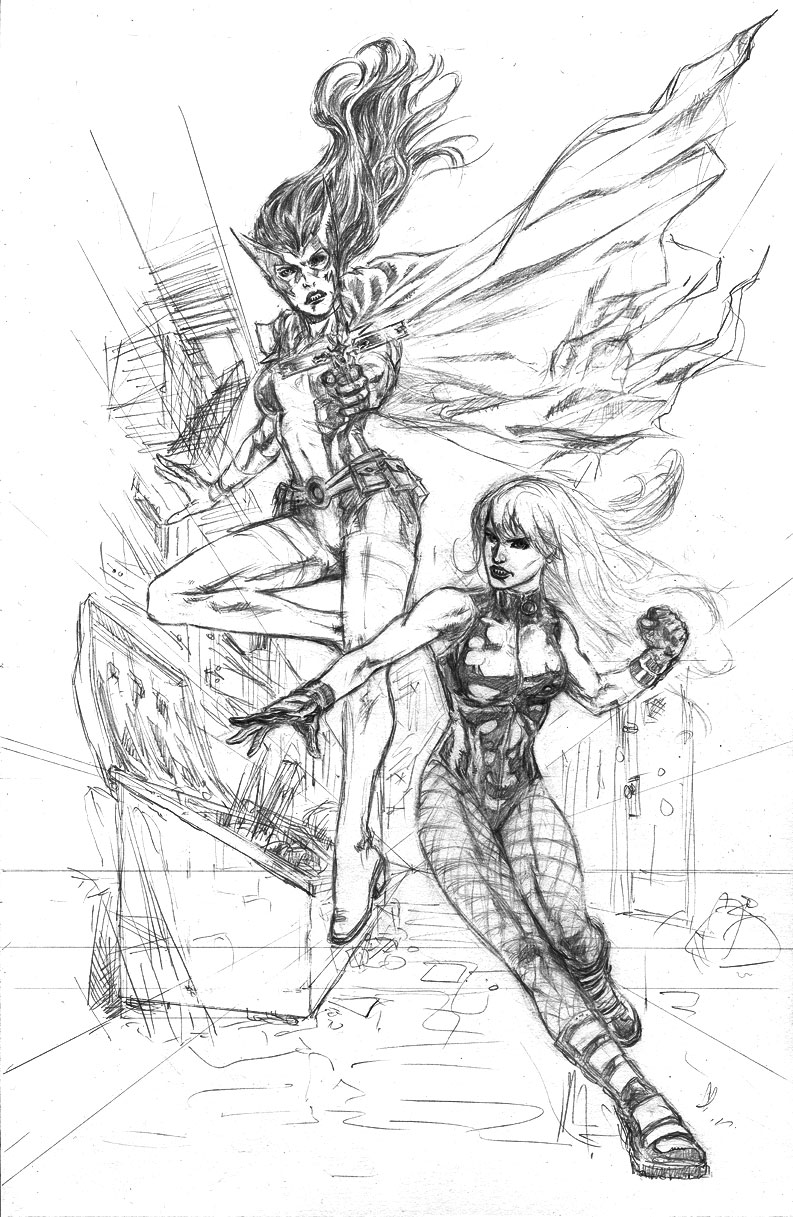 Huntress & Black Canary Leap Into Action - Penciled Art by Jun Bob Kim
