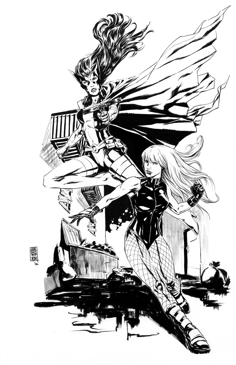 Huntress & Black Canary Leap Into Action - Inked Art by Jun Bob Kim