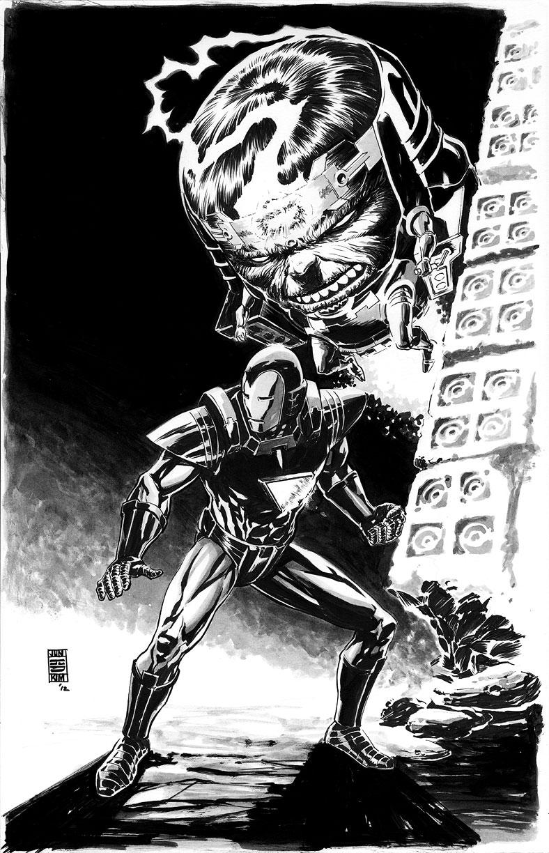 Iron Man (Silver Centurion Armor) vs. MODOK Painting by Jun Bob Kim