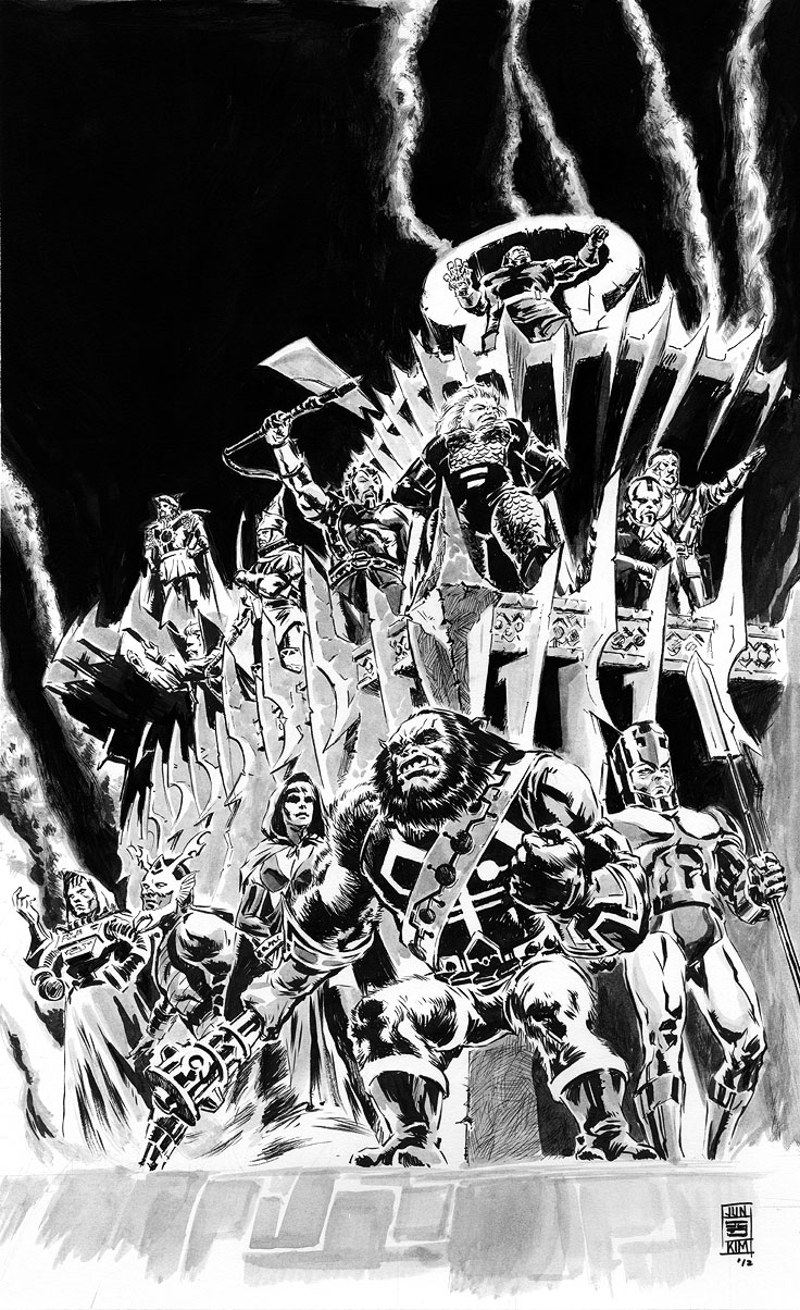 Darkseid's Elite - A Group of Apokolips Creations by Jack Kirby for DC Comics - Ink Art by Jun Bob Kim