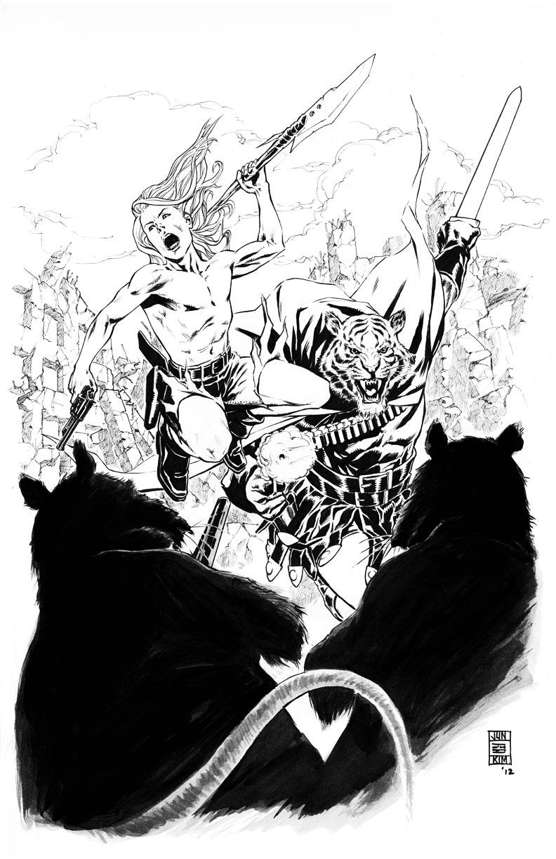Kamandi & Prince Tufta Battle the Rats – Inked Art by Jun Bob Kim