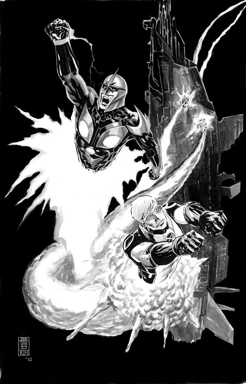 Cannonball & Nova Blast Through Alien Ship Painting by Jun Bob Kim