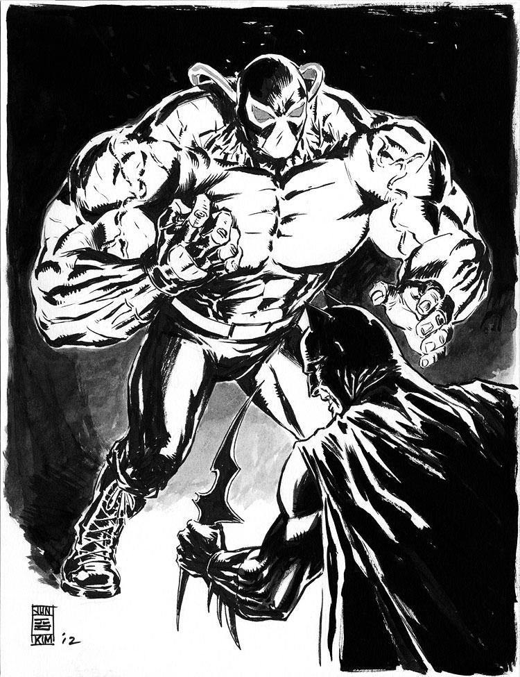 Batman Facing Off with Bane Painting by Jun Bob Kim