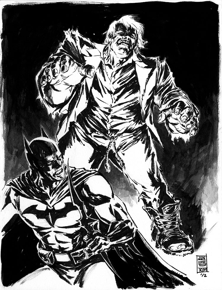 Batman Trapped by Solomon Grundy from Behind Painting by Jun Bob Kim