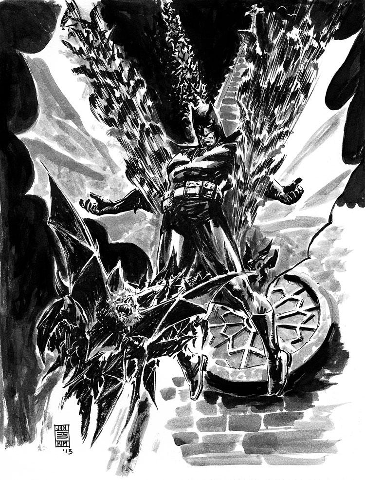 Batman 'On the Wings of Bats' - Painting by Jun Bob Kim