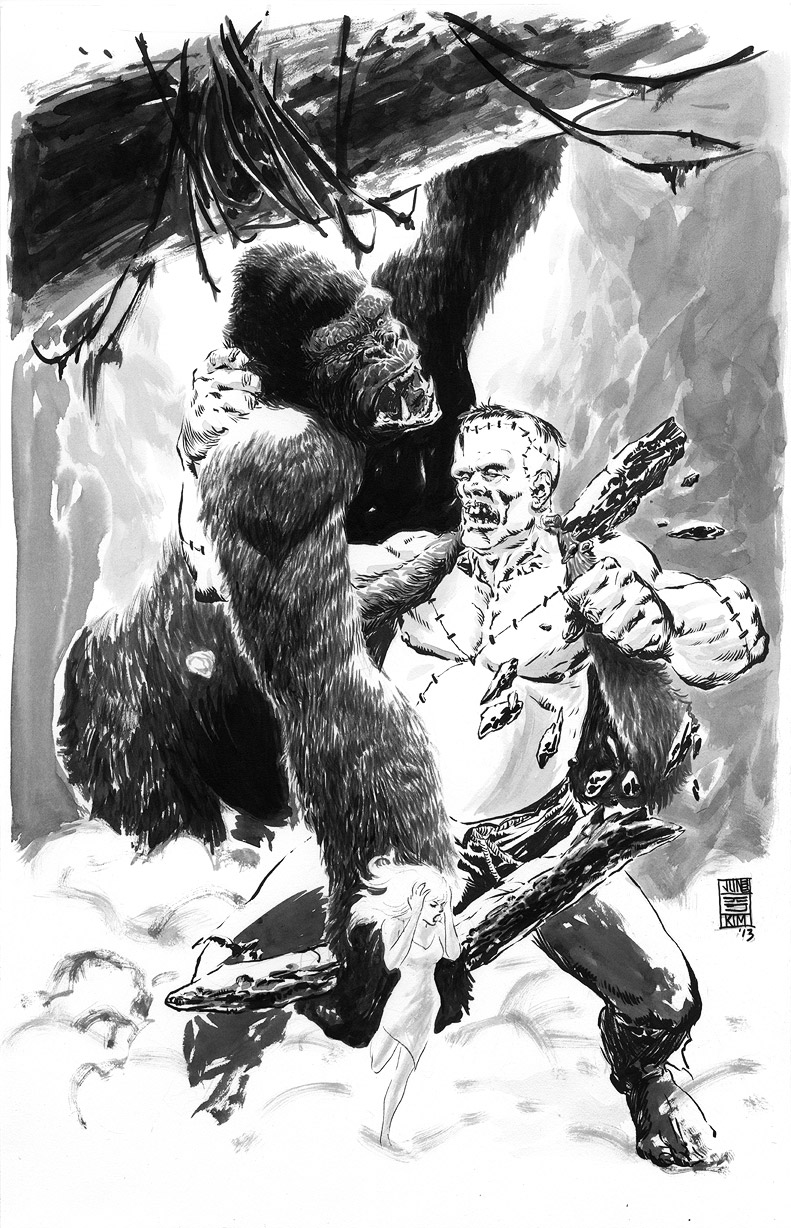 King Kong vs Frankenstein Painting by Jun Bob Kim