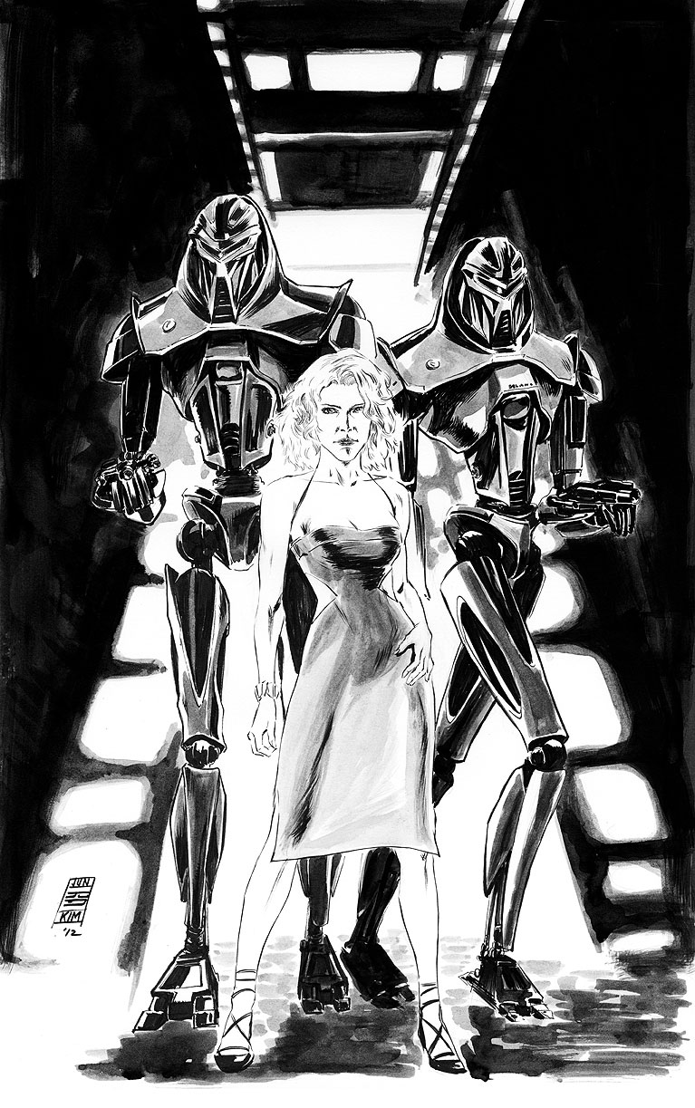 Battlestar Galactica - Number Six & Cylon Centurions - A Painting by Jun Bob Kim