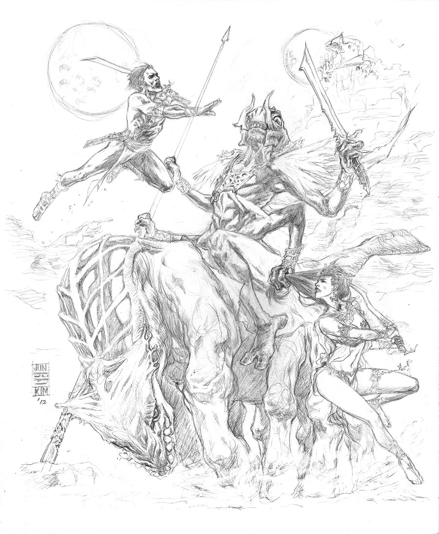 """To Capture a Princess"" - Edgar Rice Burrough's Princess of Mars REVISED Pencils by Jun Bob Kim"