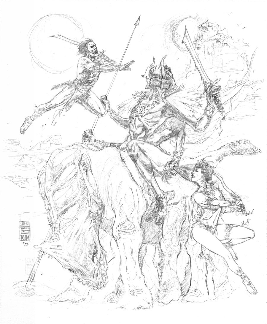 """To Capture a Princess"" - Edgar Rice Burrough's Princess of Mars Pencils by Jun Bob Kim"