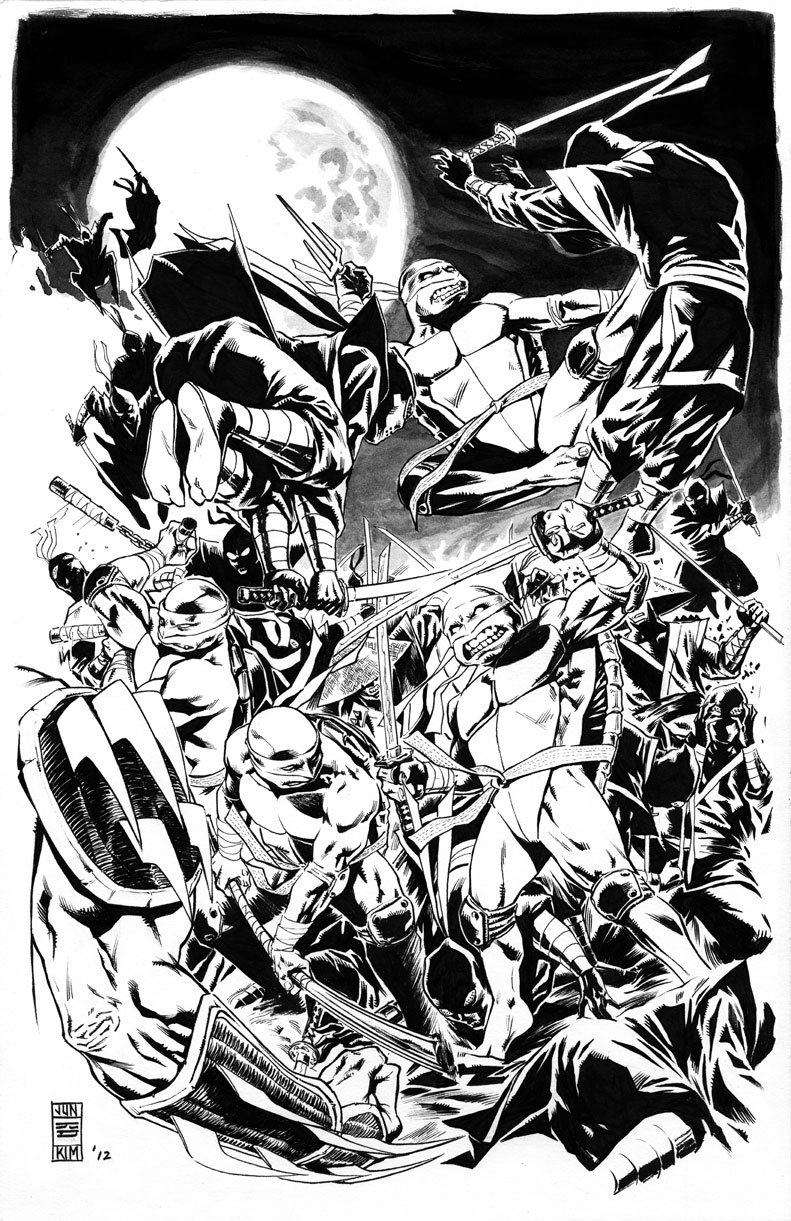 Teenage Mutant Ninja Turtles Battle the Shredder and the Foot Ninjas - Art by Jun Bob Kim