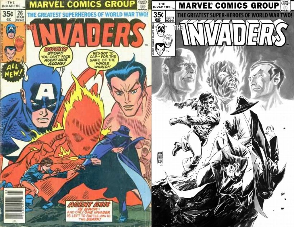 Original Invaders Issue 26 Cover Side-by-Side to One Minute Later - Invaders Issue 26 Cover Reimagined by Jun Bob Kim