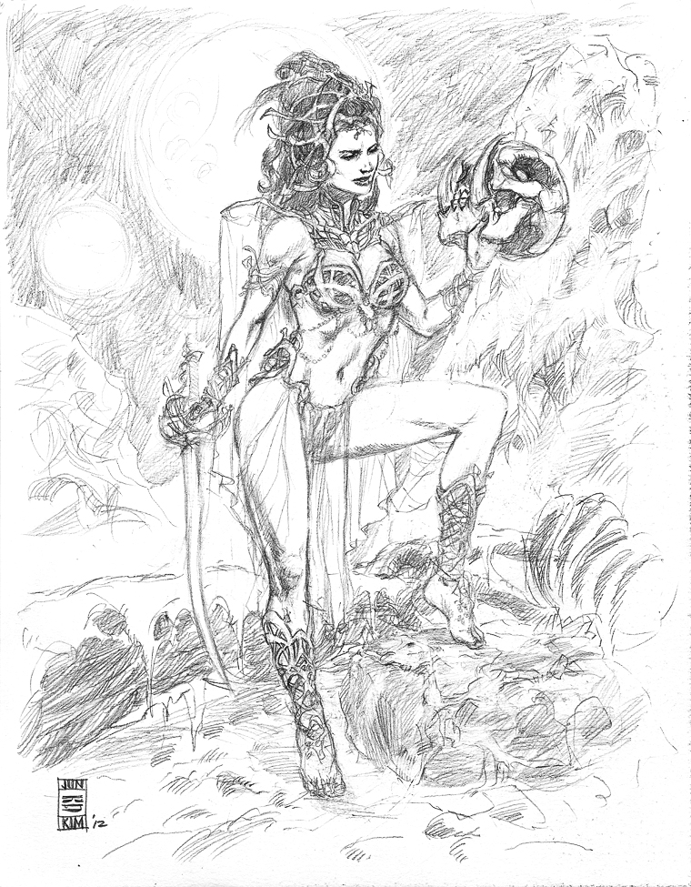 ERB Dejah Thoris - Princess of Mars - Pencil Sketch by Jun Bob Kim