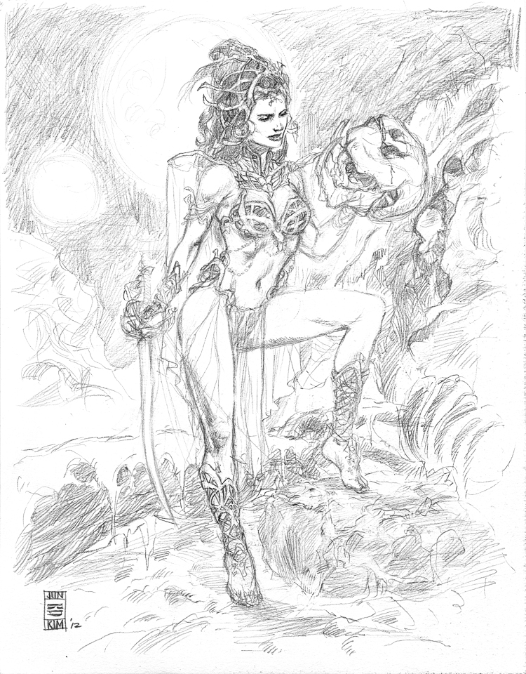 Updated ERB Dejah Thoris - Princess of Mars - Pencil Sketch by Jun Bob Kim
