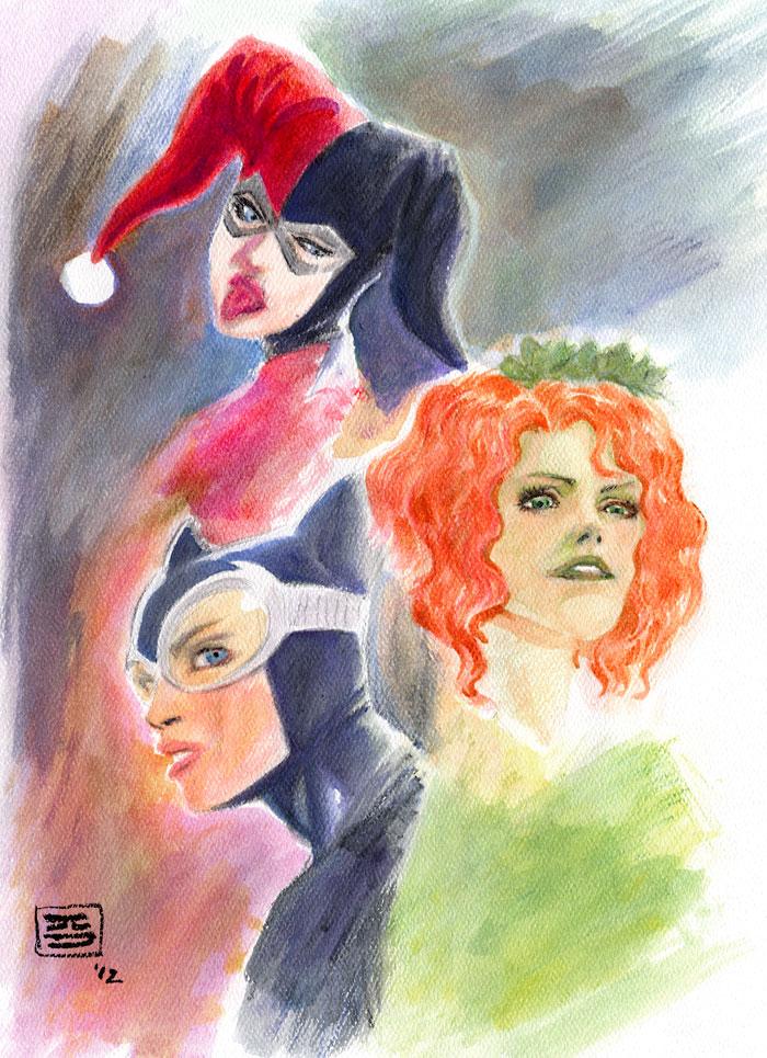 Gotham City Sirens - prelim watercolor art by Jun Bob Kim.