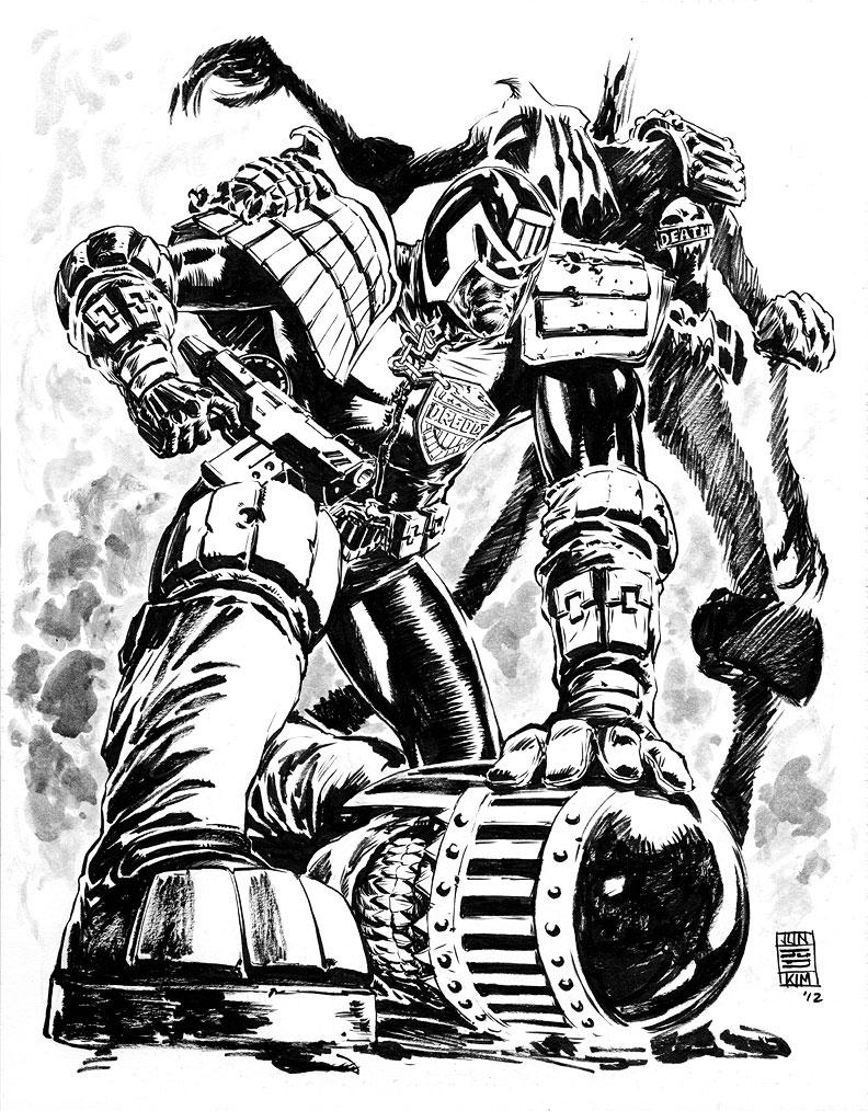 Judge Dredd vs Judge Death Painting by Jun Bob Kim