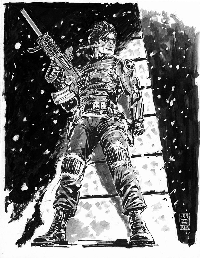 """Winter Soldier (Bucky) in Ambush"" Sketch by Jun Bob Kim"