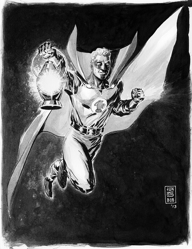 Golden Age Alan Scott Ink Sketch by Jun Bob Kim