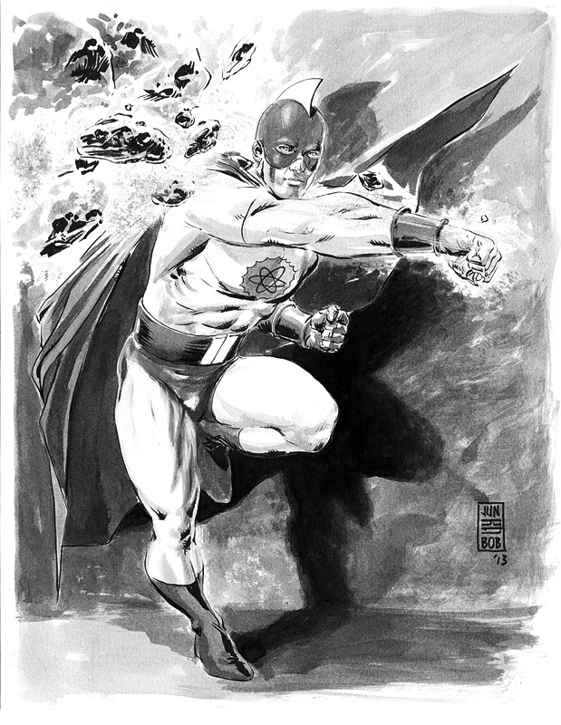 Golden Age Atom Inkwash Sketch by Jun Bob Kim
