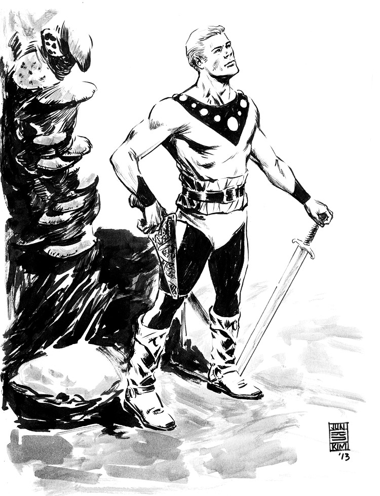 Flash Gordon Redux - Pulp Sketch Challenge by Jun Bob Kim