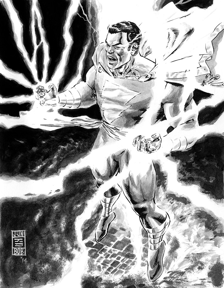 Shazam! Captain Marvel Inked Art by Jun Bob Kim