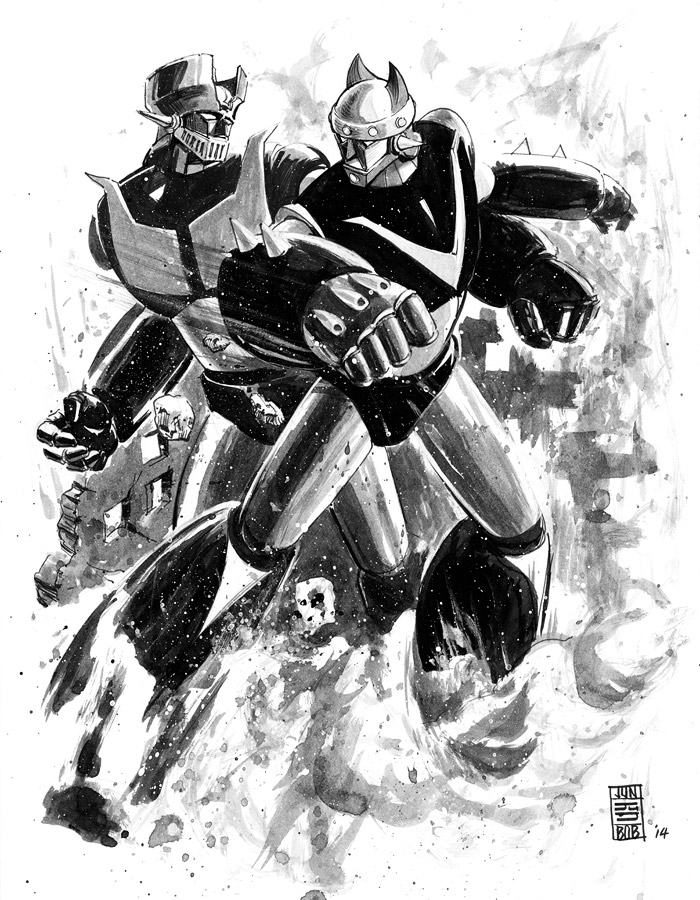 Robot Taekwon V vs. Mazinger Z Sketch by Jun Bob Kim