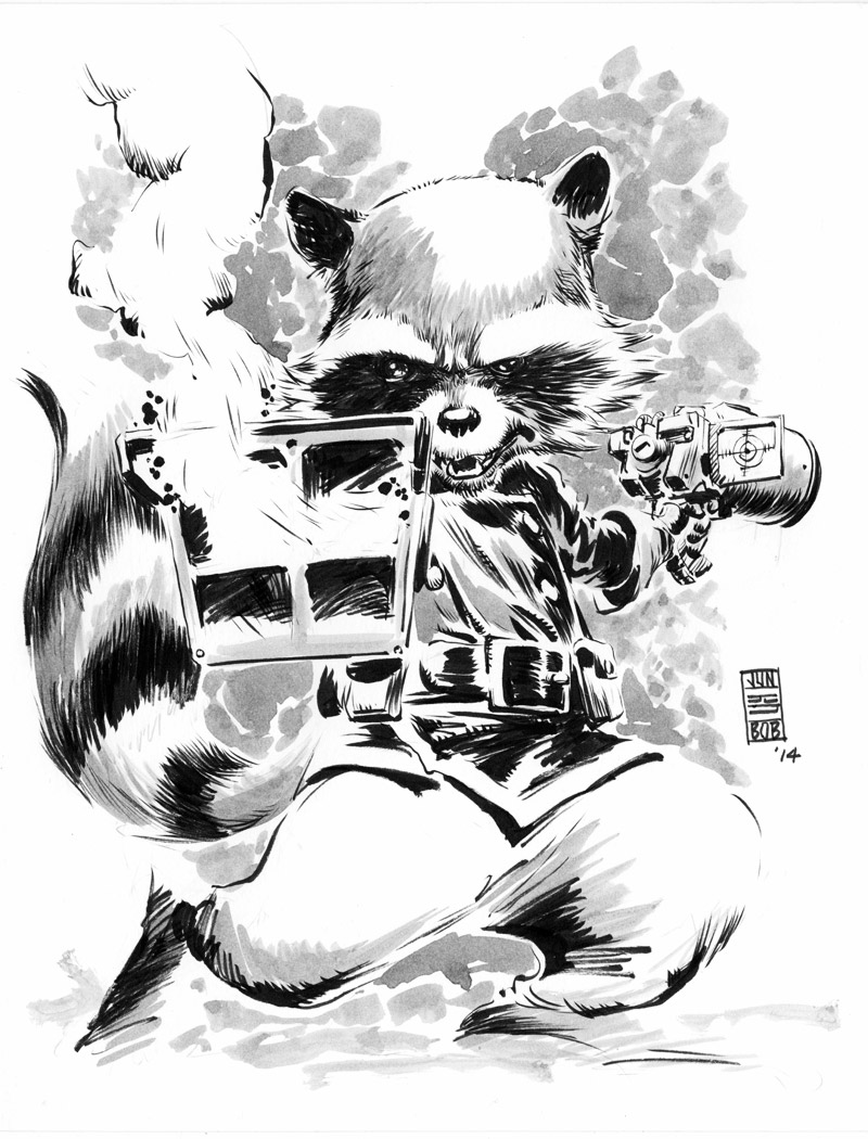 Rocket Racoon Ink Sketch by Jun Bob Kim