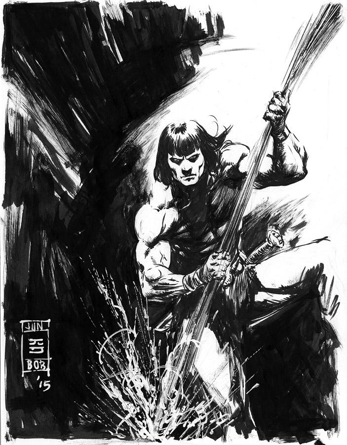 Conan Impales a Monster Sketch by Jun Bob Kim