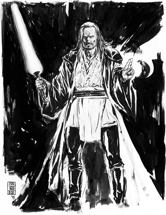 Star Wars Qui-Gon Jinn Jedi Sketch by Jun Bob Kim