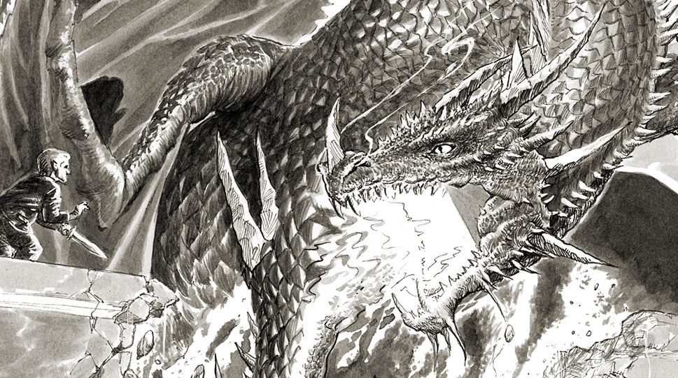 Bilbo Faces Smaug Painting Cropped